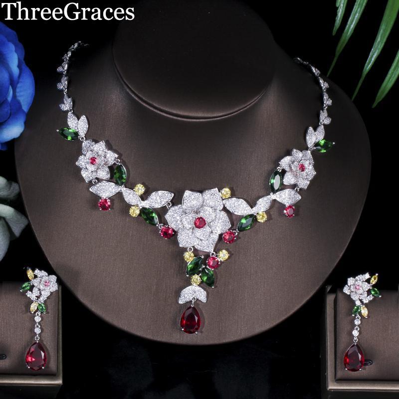 Threegraçages Costume de luxe Bijoux Forme de fleur multicolore Cubic Zirconia Bridal African Wedding Party Sets JS080