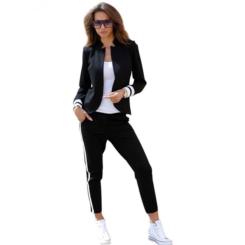 MVGIRLRU Женские костюм 2 двух частей комплекта костюмов с длинным рукавом стоячим воротником пуговиц Черно-белый спортивный костюм 201009