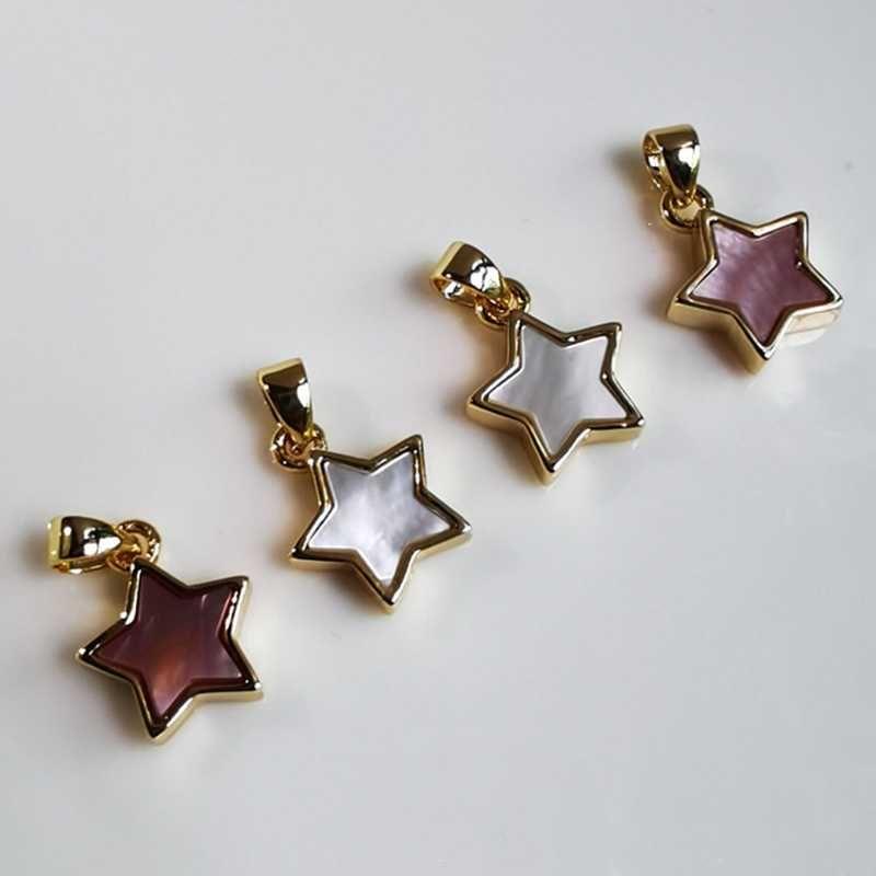20pcs / lot 10m m natural de la estrella madre perla colgante de concha de joyería de concha encantos de la estrella madre de la perla para la joyería DIY