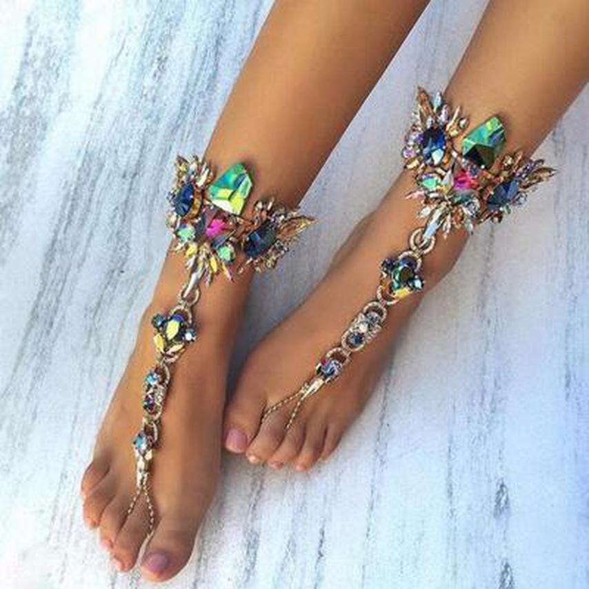 Pieds nus mariage Pied Bijoux Vintage Sandales cheville cheville Tassel femmes Multilayer Gem pour la plage Bijoux New Cristal de Bohème bbyoF