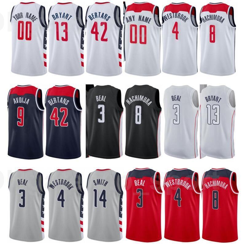 Imprimir Baloncesto Davis Bertans Jersey 42 Bradley Beal 3 Russell Westbrook 4 Raul Neto 19 Ciudad Edición Ganada Red White Número de nombre personalizado