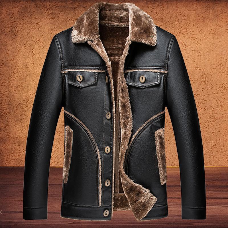 Kış Ceket Erkekler Deri Ceket Erkekler Kürk Çizgili Kış Moda Ceket Sıcak Dış Giyim Ceket Vintage Stil Artı Boyutu 4XL 5XL 6XL 7XL 201120
