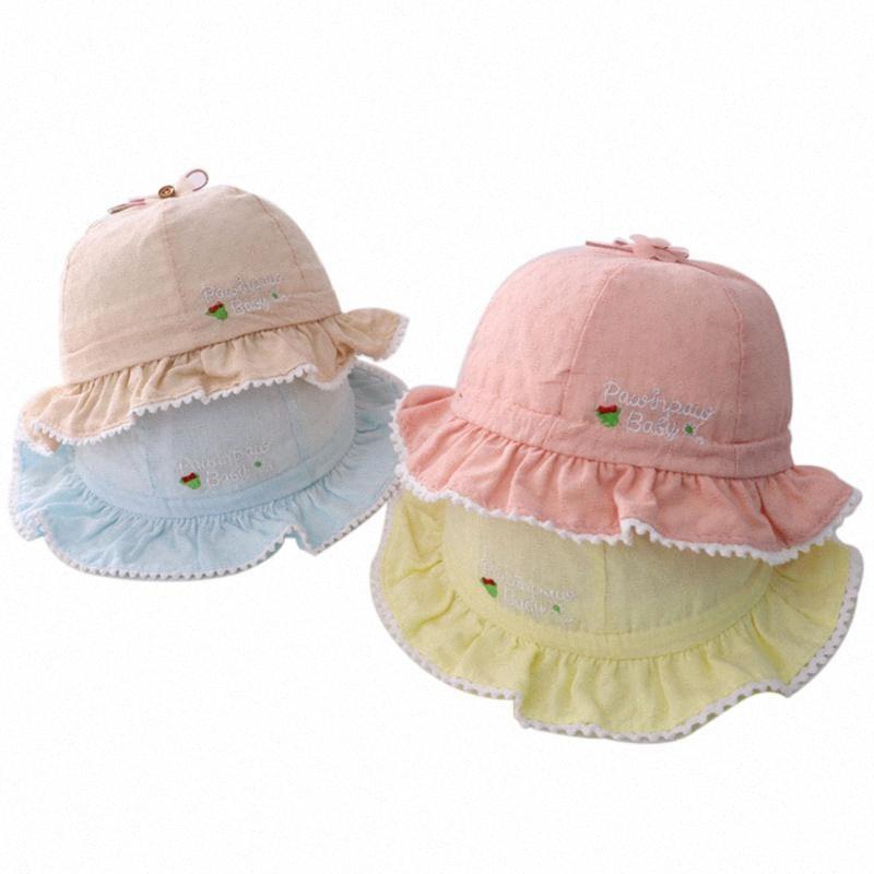 Summer Soft Cotton Baby Sun Hats Toddler Little Girls Panama Hats Kids Girls Bucket Cap Newborn Raffle Brim With Bownot Sun Hat Gfm0#