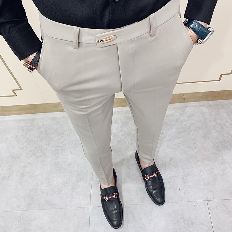 Casual slim fit mens abiti da uomo pantaloni streetwear vestito pantaloni uomo 34 Pantaloni da ufficio di alta qualità Gentlemen Uomo Tutti abbinare la caviglia lunghezza 201128