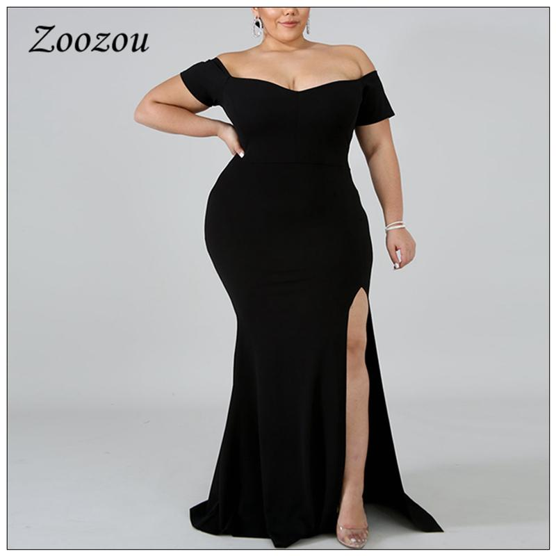 Side Open Prom Formel Party Maxi Robe pour Femmes Plus Taille 4XL Élégante robes d'épaule Élégante robe longue à manches courtes noir