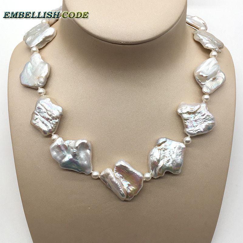Große barocke Perlen Halsband Aussage Halskette unregelmäßigen natürlichen Süßwasser-6mm nearround Perlen Hyperbel edlen Schmuck