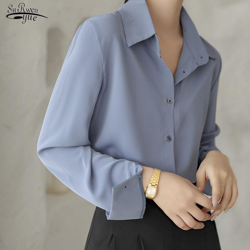 السيدات أنيقة الكورية مكتب قميص أزياء زر أعلى الحرير قميص بلوزة المرأة زائد الحجم الأبيض قمصان طويلة الأكمام قمصان 12473