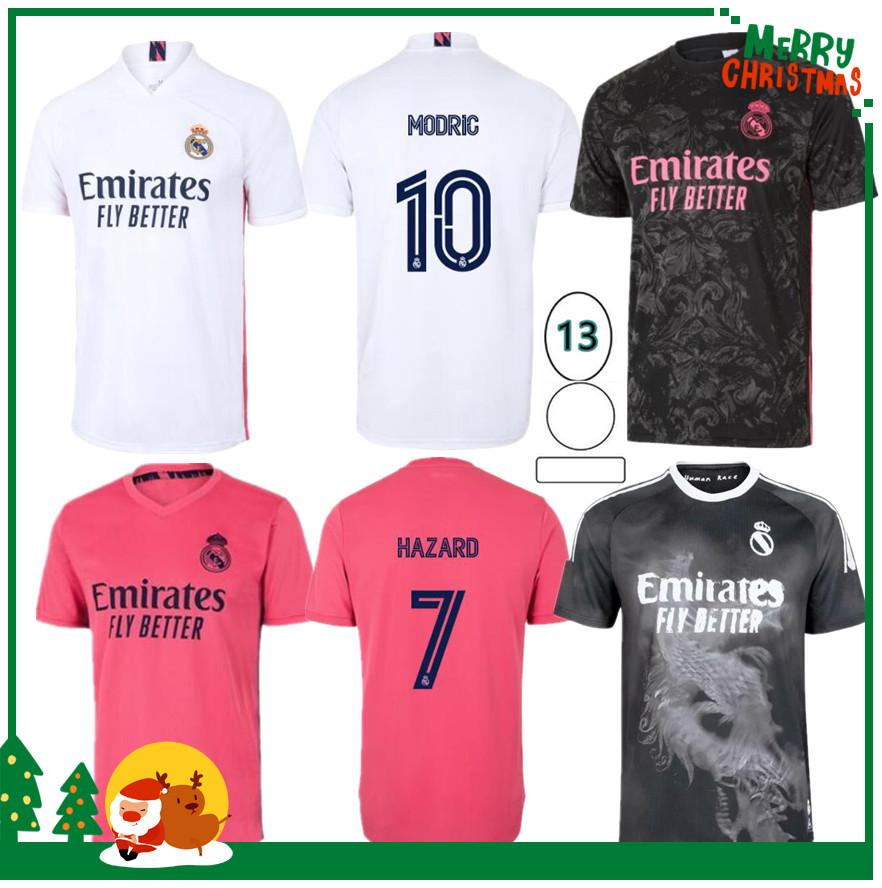 20 21 Jersey de football de Madrid Real Madrid Benzema Vini Jr Charic Asensio Sergio Ramos Dazard 2020 2021 Adult Hommes + Kit Kit Sports Soccer Shirt