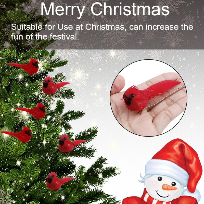 10pcs niños de juguete portátil artificial cardinal de la Navidad Aves Inicio la decoración del jardín de espuma árbol del ahorcado bricolaje realista Festival Rojo