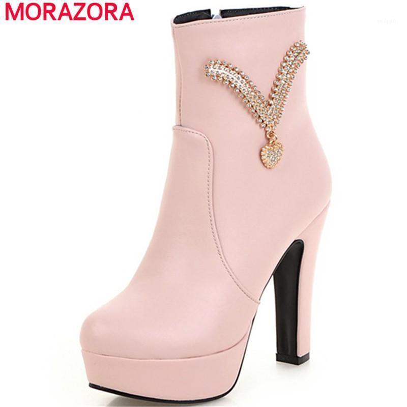 Morazora Gran tamaño 34-45 Botas de tobillo PU Zapatillas de plataforma de cremallera de cuero suave de PU Mujer tacones altos para mujer Botas de mujer Fiesta de fiesta1
