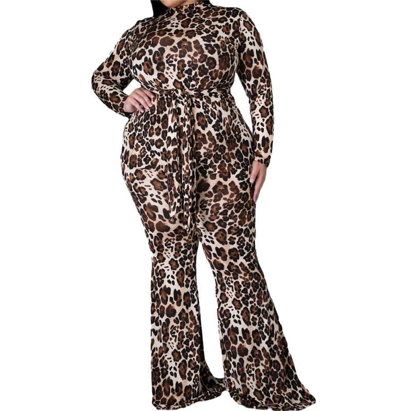 Tute manica lunga Tute per il corpo per le donne Pagliaccetto Leopard One Piece Outfit Casual Plus Size Tuntoti Bulk Articoli all'ingrosso Lotti all'ingrosso