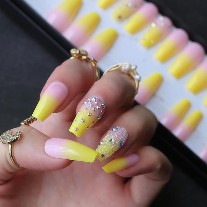 Limon Sarı Fransız ombre tabut parlak jel sahte çivi Yapay elmas parlak Bale çivi yanlış tırnak kristal sanat tasarım havyar maç