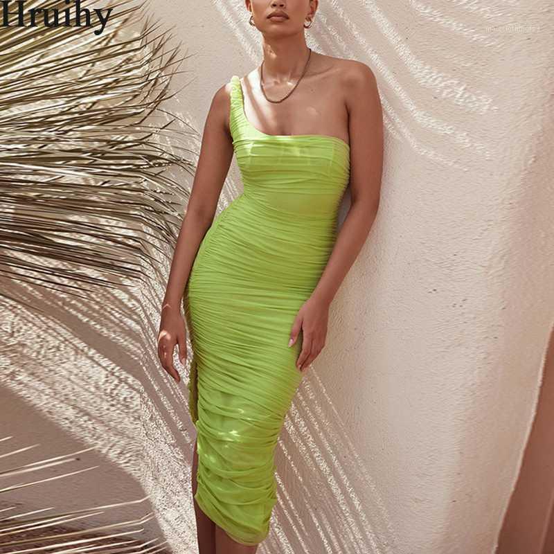 Elegante Kleid Frauen Eine Schulter Grüne Hohe Taille Mode Geruch Kleider Für Frauen Unregelmäßigen Saum Sommer Maxi Kleider weiblich1