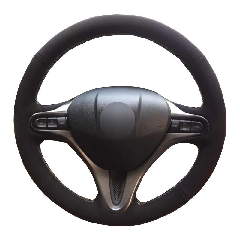 Honda Fit 2009-2013 İl 2009-2012 2013 Jazz 2009-2013 Insight 2010-2014 için DIY Araç Direksiyon Kapak Siyah Süet Deri