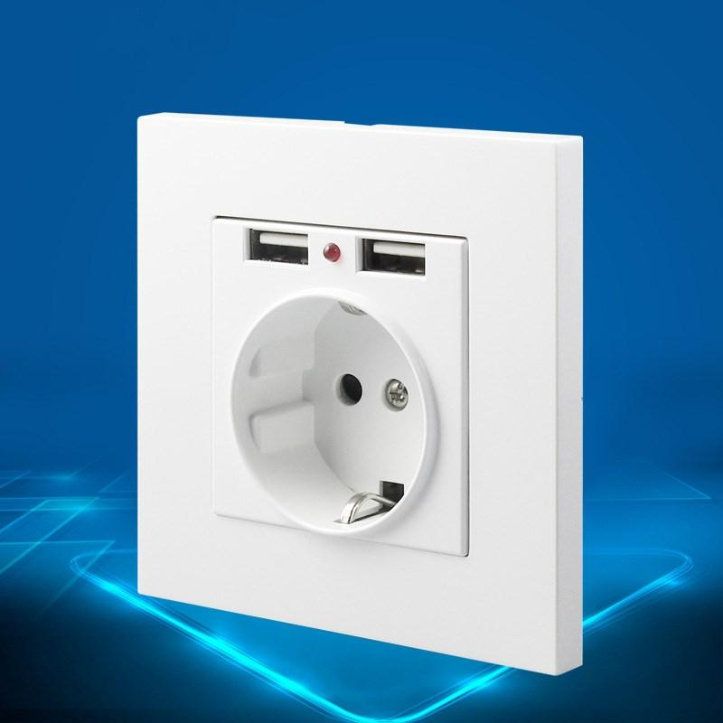 Plug Socket Dual Usb Port Wall Charger Adapter Rechargeable 2a Wall Charger Adapter Power Socket White Pop-up Ce