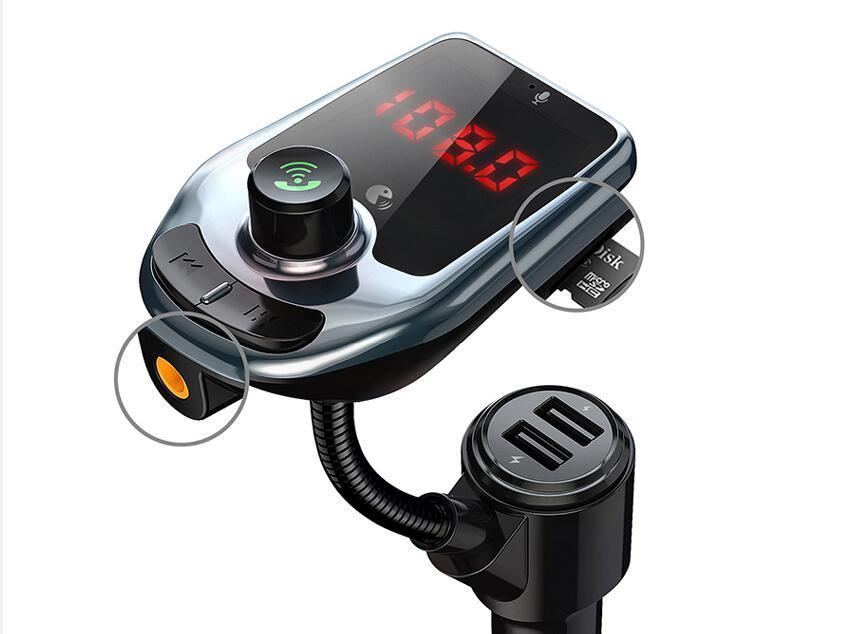 D5 무선 블루투스 자동차 MP3 플레이어 무선 자동차 블루투스 FM 송신기 오디오 어댑터 스피커 빠른 USB 충전기 AUX LCD 디스플레이