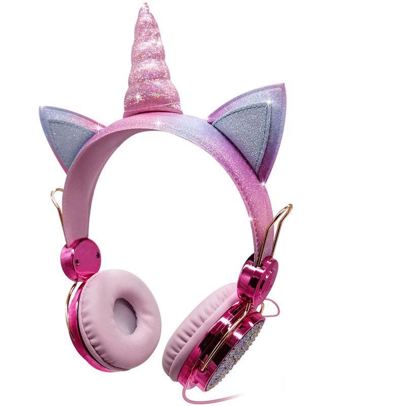 electroplate لطيف القط يونيكورن الكرتون هدية عيد الميلاد مريحة سماعات سلكية سماعات مع ميكروفون ميكروفون المتكلم للأطفال