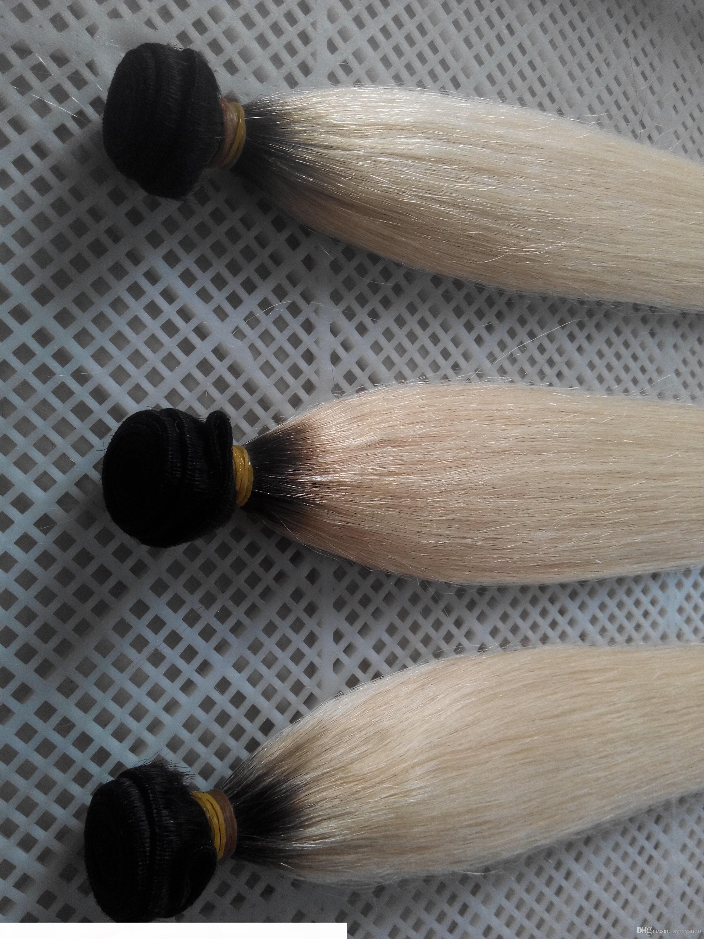 نمط جديد T1 البلاتين شقراء اللون 100٪ الإنسان نسج الشعر 10-30 انج الماليزي العذراء مستقيم الشعر 6A مزدوجة لحمة الشعر النسيج