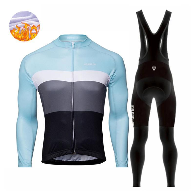 레이싱 세트가 rigo 긴 소매 겨울 열 양털 사이클링 의류 남자 세트 턱받이 바지 자전거 mtb ropa ciclismo hombre