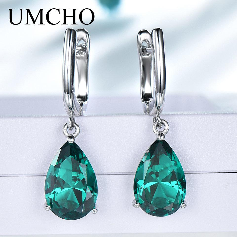 UMCHO Created Green Emerald Gemstone Clip Earrings for Women Solid 925 Sterling Silver Anniversary Wedding Party Gifts Jewelry 1021