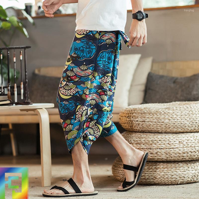 Japonés suelto siete puntos pantalones casuales verano nuevo harem pantalones hombres holgado ancho pierna grande tamaño para hombre pista m-5xl1