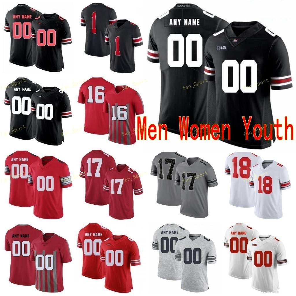 Custom Ohio State Buckeyes College Football Trikots 17 Chris Olave 18 Tate Martell 2 Chase Junge 2 JK Dobbins Männer Frauen Jugend genäht