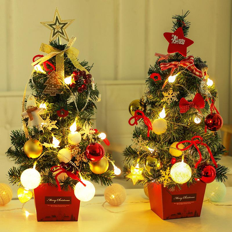 National Tree Tabletop Mini Artificial Christmas Tree Set with Clear LED Lights, Star Treetop and Ornaments DIY Christmas Home Decor