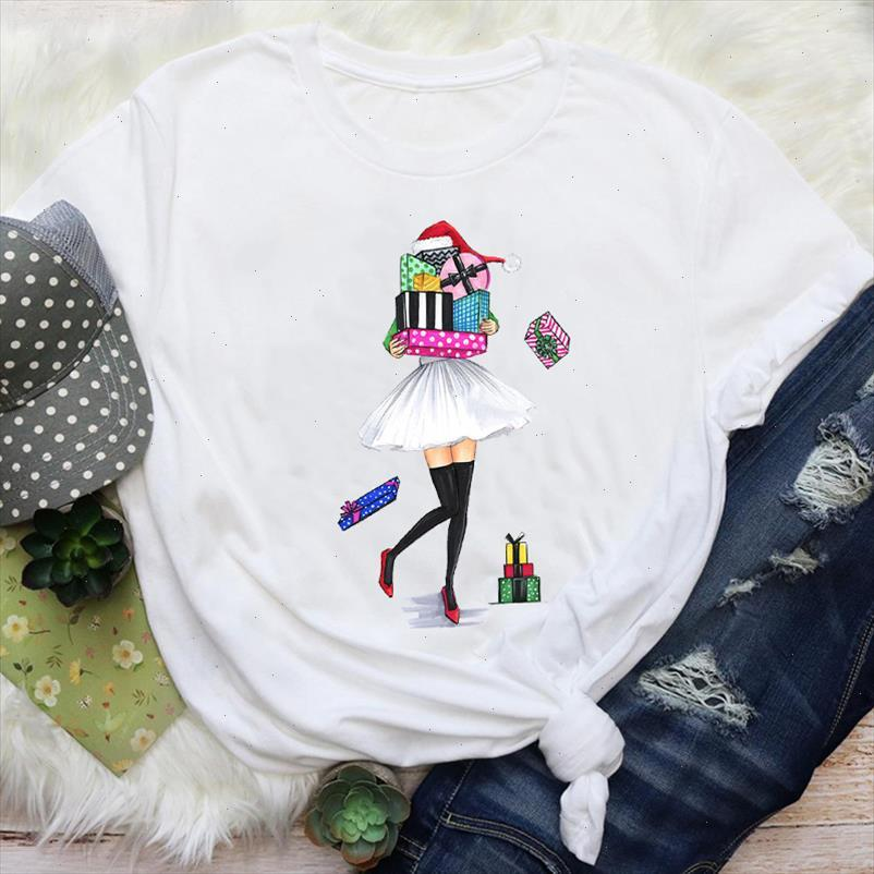 Women Gift Girl New Year Clothing Style 90s Holiday Merry Christmas Print Tops Lady Female Graphic Tees Clothes T Shirt T Shirt