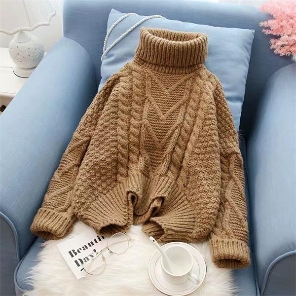 Новые Вершины В Осень Зима корейских женщин Плоский Вязаные Turtleneck пуловеры завышением SweaterY1104