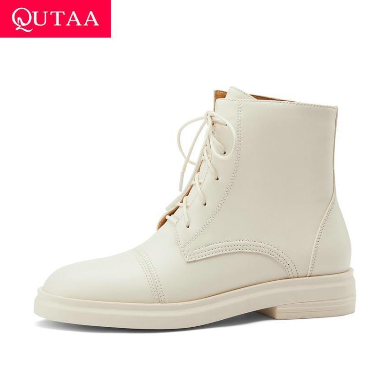 QUTAA 2021 de punta redonda informal otoño invierno las botas del tobillo de cuero de vaca de calidad a las mujeres del cordón de zapatos de tacón cuadrado Tamaño botas cortas 34-40