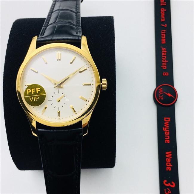 PFF Men's Watch 5196G 37x7.7mm Vidro de cúpula com gaivota St19 Movimento manual Armazenamento de potência até 42 horas Manual Suture Calfskin Strap