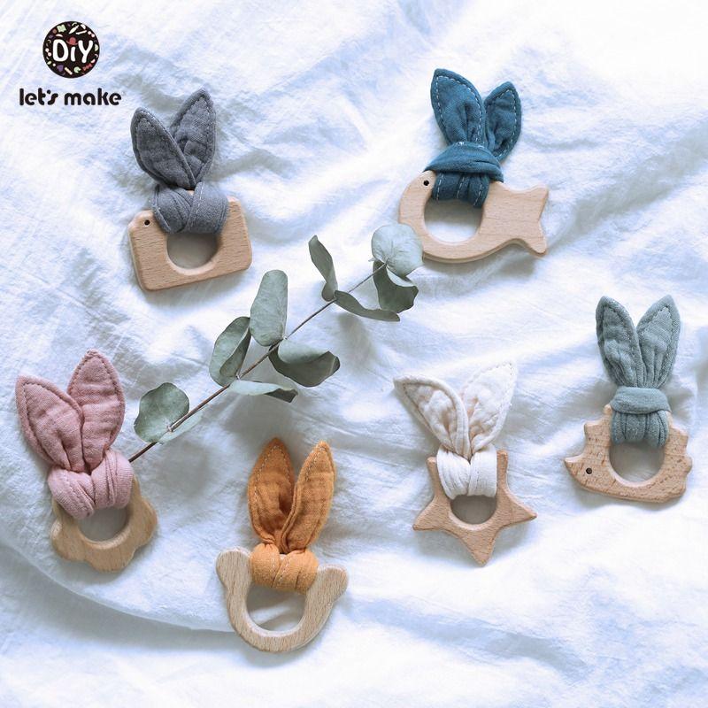 Lets Make Baby Teether Toys BPA Free 2pcs/set Bracelet Beech Ring Wholesale Bunny Ear Animal Cartoon Flower Rodent Teether