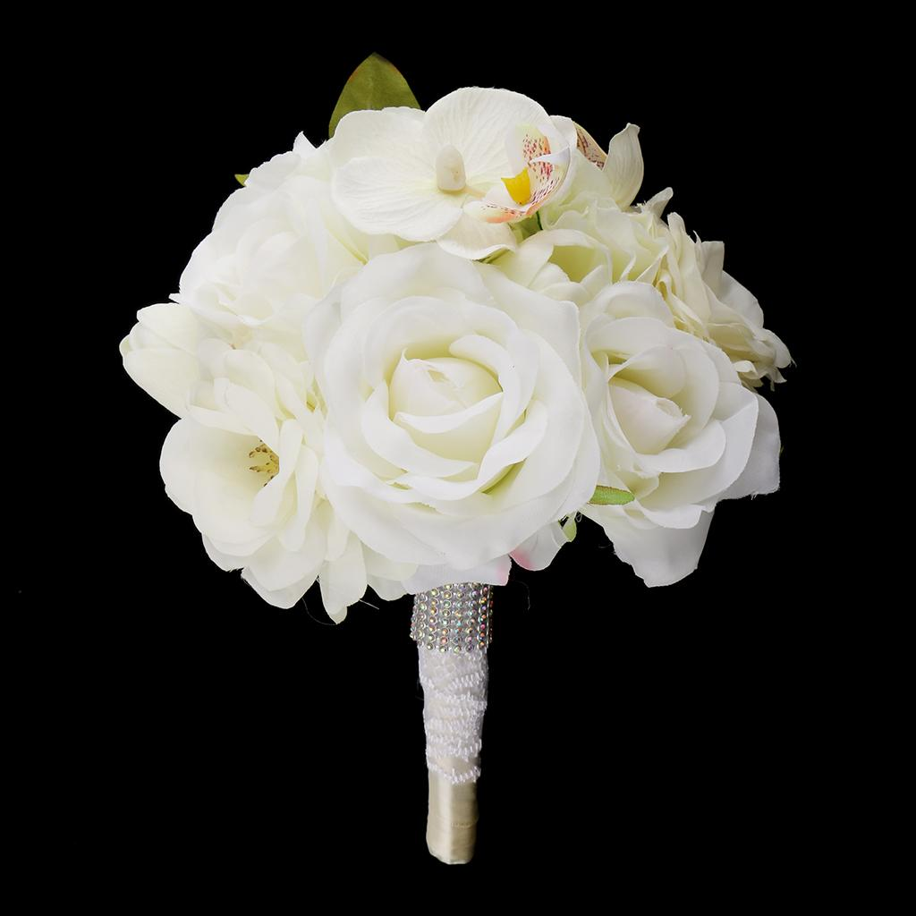Compre Partido Nupcial Do Casamento Da Dama De Honra Bouquet Rose Tulip Orquideas Mao Amarrada Flower De Gazechimp 117 87 Pt Dhgate Com