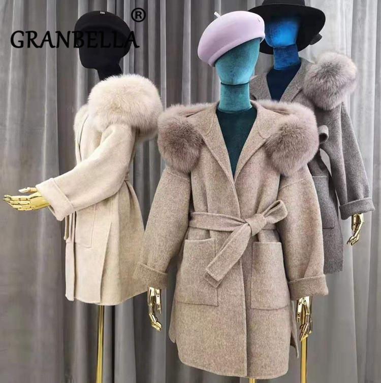 Venda Quente Estilo Europeu Mulheres Elegantes Cashmere Revestimento Cor Sólida Feminino Celted Cardigan Outerwear Real Fox Fur Hooded Casacos 210204