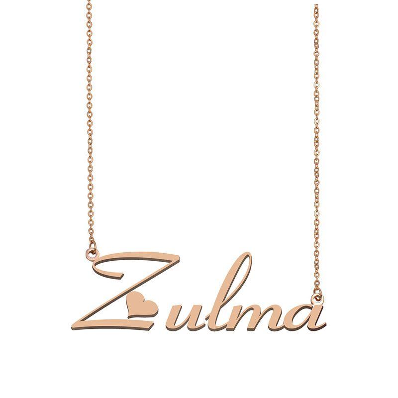 Zulma Nom Collier personnalisé pour Nameplate Pendentif Femmes Filles cadeau d'anniversaire d'enfants Meilleurs amis Bijoux 18k Acier inoxydable plaqué or