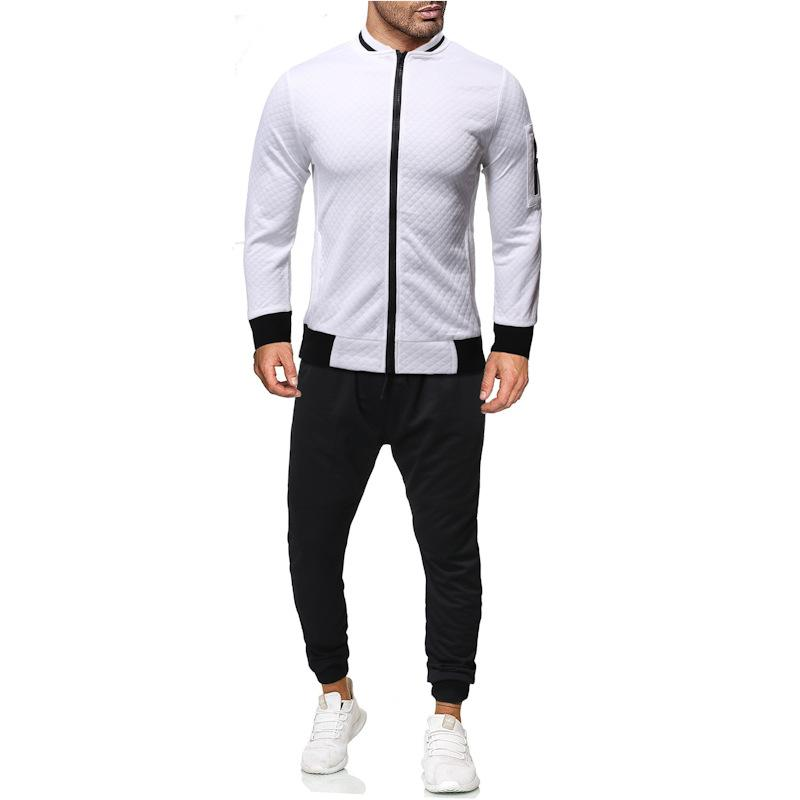 Mens Two Pieces Sets Zipper Panelled Cardgian Coat Long Pants Tracksuits Solid Color Fashion Casual Male Clothing