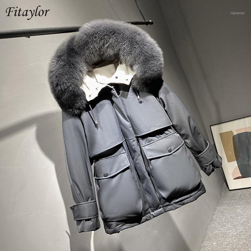 Mulheres para baixo parkas fitaylor inverno mulheres grandes faux peles colarinho casaco espessura quente com capuz 90% branco pato faixa laço up outwear1