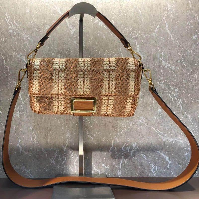 High Quality Crossbody Bag Women Handbag Purse Handcraft Straw Woven Baguette Bag Wide Strap Shoulder Bag Fashion Flap Messenger Bags Tote