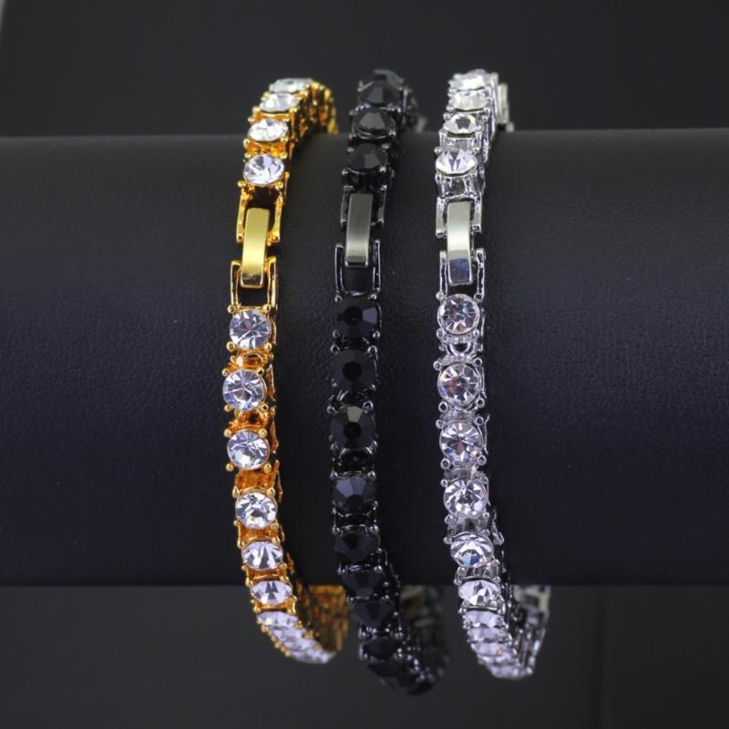 homens moda hip hop pulseira de cristal pulseira de tênis cadeia bling bling jóias
