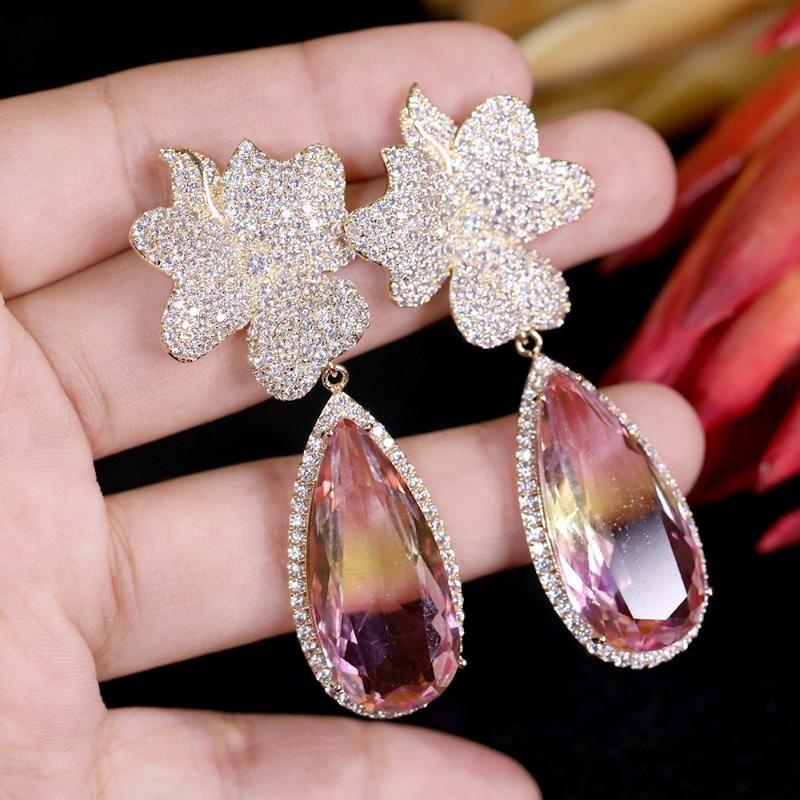 Asnora Fashion Fashion Cubic Zirconia Pendientes de gota rosa, Accesorios de Vestido de Cena de Gran Etapa 00758