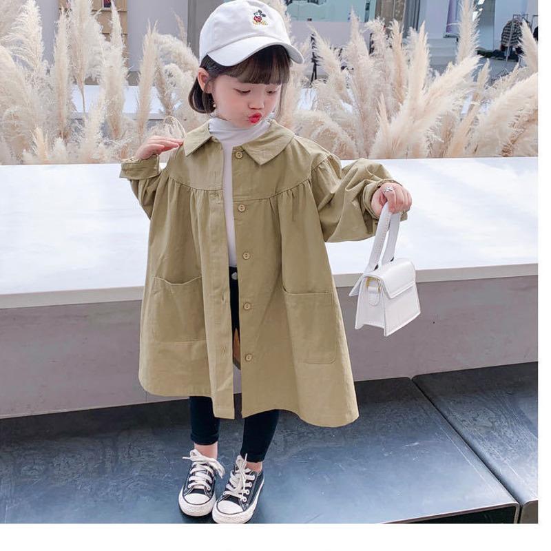 معطف ربيع الخريف الكورية الفتيات الكاكي سترة واقية القطن طفلة سترة الأطفال اللباس الأطفال البريطانيون معطف الخندق