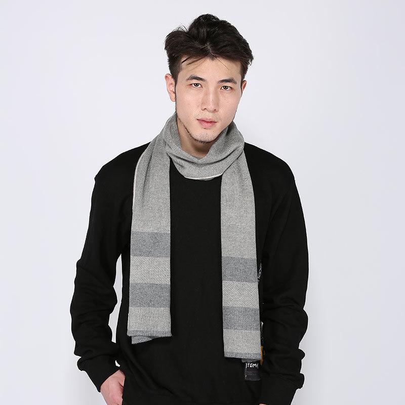 Sparsil Мужчины зима кашемира шарф Вязаная Шерсть мягкий теплый шаль Wrap Широкая полоса высокого качества шарфов Эластичный шейный Foulard Y201007