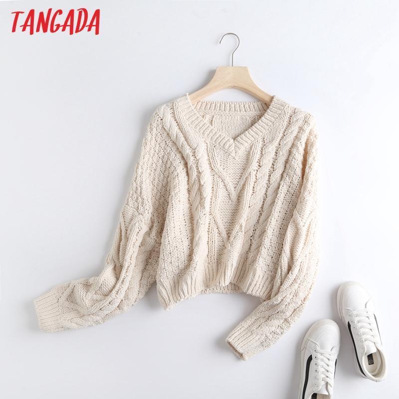 Женские свитеры Tangada женщины V шеи поворот свитер негабаритные старинные дамы коротко вязаные джемпер топы BC69