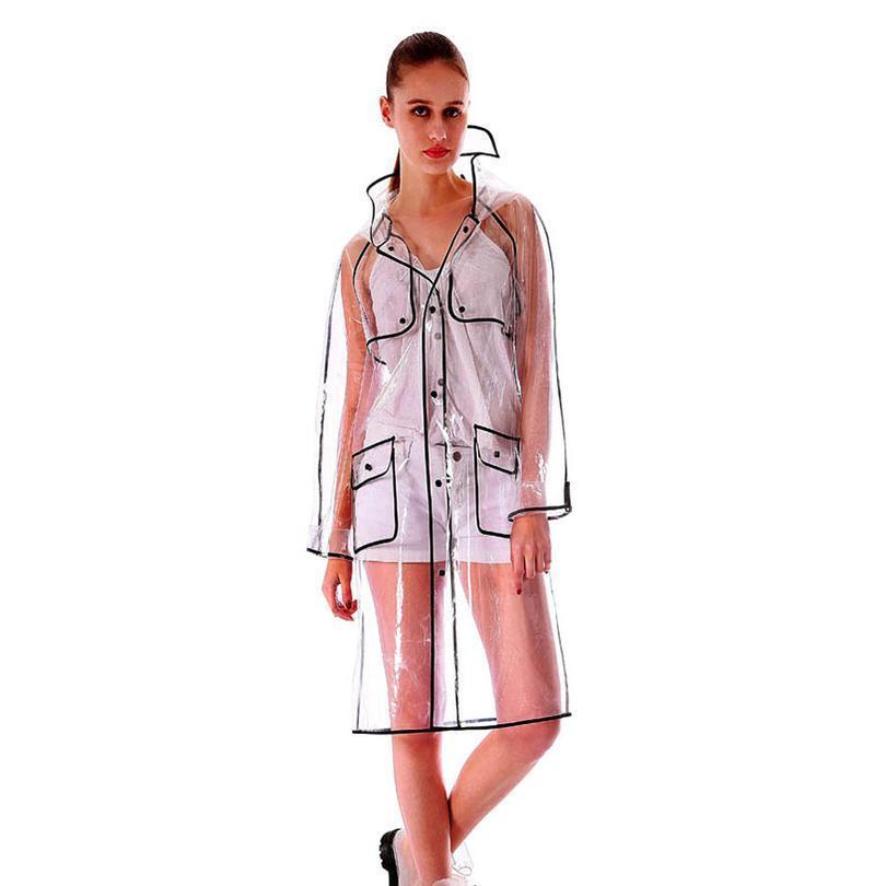 Новая версия с капюшоном Дамы Девушки Длинные прозрачные Bbynix Touring Plast Pastwoat Мода Открытый бесплатный EVA Куртка Rain Женщины Advai