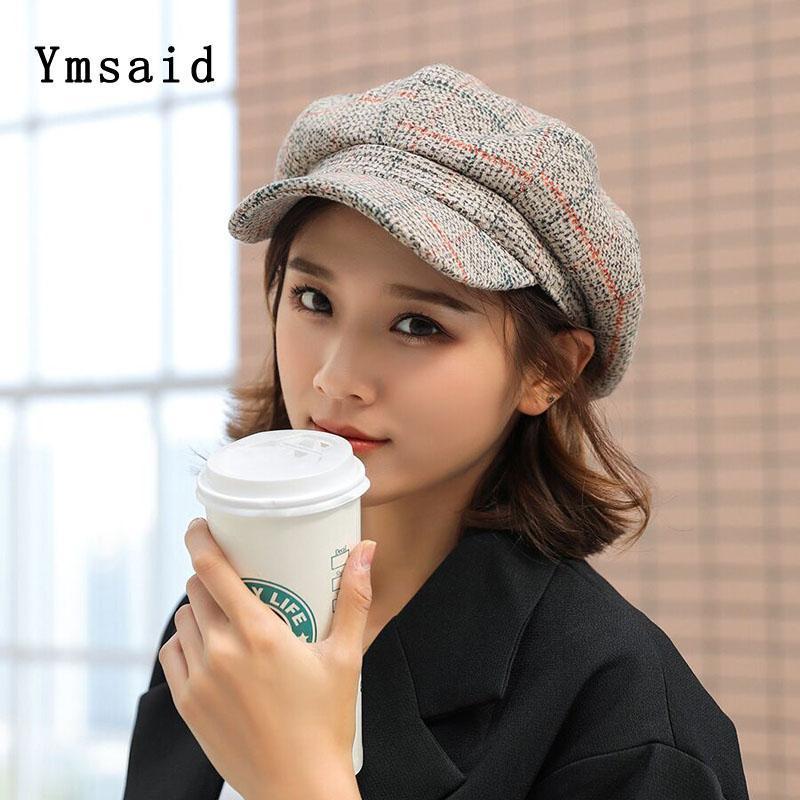Береты 2021 осень зима ретро шерстяная смесь Sboy Cap высокое качество Берета плед восьмиугольная шляпа для отдыха женщин