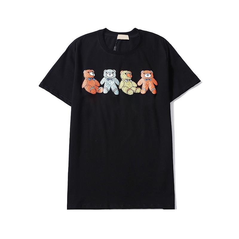 Camisetas Negro O T Shirts Cuello Húplica Hop Moda Hombres Causales Cortas de manga blanca Cadera Tshirts Streetwear Printing Y5957 JDRWJ