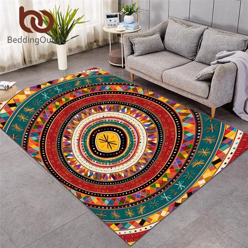 BeddingOutlet Aztec Alfombra grande para la sala de estar Mat de piso africano Tribu Folklórica Círculos Círculos Decorativos Alfombras étnicas Coloridas Tapis Barato Idooa #
