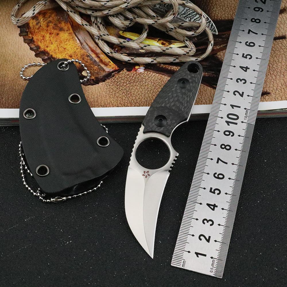 Açık Utility EDC Aracı Csgo Öz Savunma Bıçaklar ile karambit Pençe Düz Bıçak S35VN Sabit Blade Karbon Elyaf Sap Bıçaklar kolye