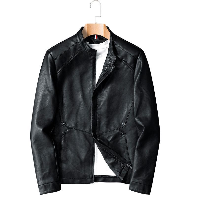 Hommes Spring Automne Automne Hommes Casseroles Collier Moto Cuir PU Cuir Veste Manteau Vêtements d'extérieur Vêtements mâles Jauquetta de Couro 6xl