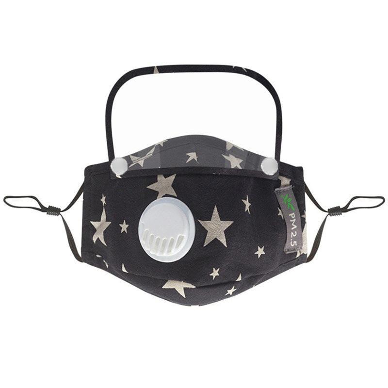 쉴드 탈착식 세탁 가능한 재사용 가능한 클리어 마스크 PM2.5 방진 코튼면 2PSC FI 11 J2 방패와 마스크 아이의 얼굴